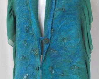 Sale!!!   Nuno Felt Wrap in Blue/Green