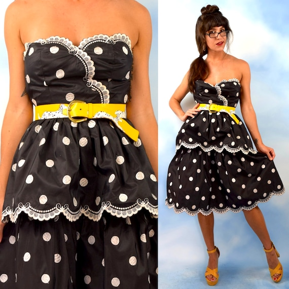 Vintage 80s does 50s Victor Costa Black and White Embroidered Polka Dotted Strapless Taffeta Double Tiered New Look Party Dress (size xs)