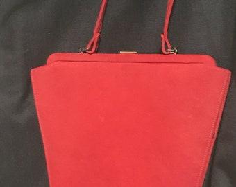 Vintage Purse Art Deco Handbag Red 1950's Purse
