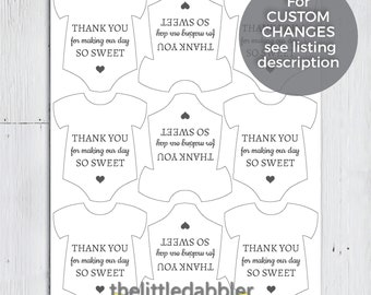 Thank You For Making Our Day So Sweet -- Printable Mini Onesie Baby Shower Candy Chocolate Favor Tags -- PDF