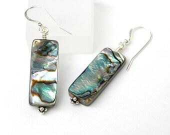 Paua Shell Earrings, Dangle earrings, Sterling silver, Peacock shell Jewelry, Resort wear, Gift for her, Iridescent earrings