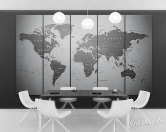 World map canvas etsy grey world map canvas gray world map wall art travel map of the world gray world map print detailed world map canvas push pin world map gumiabroncs Images