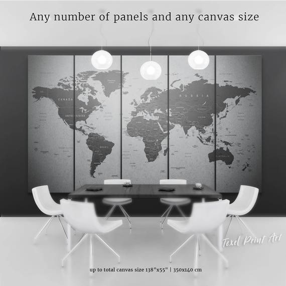Grey world map canvas gray world map wall art travel map of like this item gumiabroncs Image collections