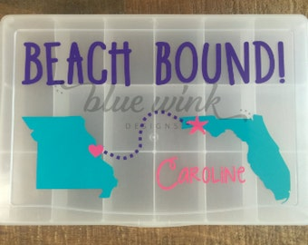 Beach Bound Personalized Travel Snack Box--Road Trip Organization--Food Storage--Personalized Gift