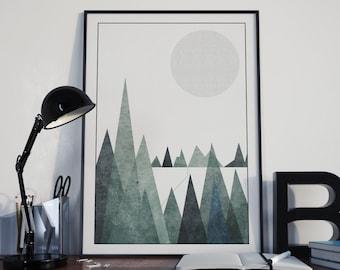 Scandinavian Mountain Range Poster Print- Minimalist, black and white, nordic