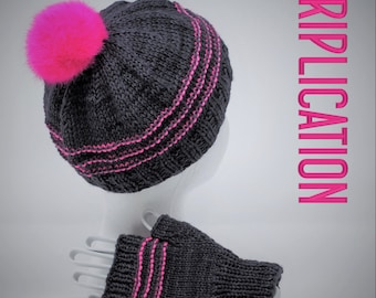 Triplication Hat & Mitts Yarn Kit with your choice of color