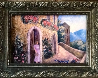 WAITING... original Plumley framed giclee print.