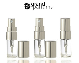 6 Clear Glass 3ml Fine Mist Atomizer Bottles 3 ml w/ Silver Metallic Spray Mist Caps Perfume Cologne Travel Size Sample Packaging Wholesale