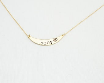 Pet Lovers Necklace, Crescent Necklace, Personalized Necklace, Simple Necklace, Delicate Necklace,  Layering Necklace