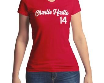 Ladies Pete Rose Shirt V Neck T New Charlie Hustle Baseball Cincinatti Reds Women Girl Next Level Red Tee