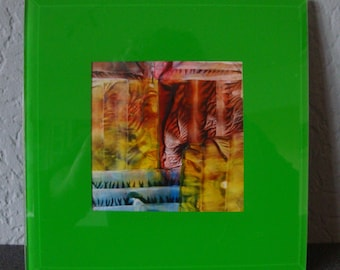 Encaustic Art Painting in glass frame