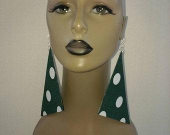 Attractive Green with White Polka Dots Print Triangle Earrings, Women Earrings, Fashion Fabric Earring, Large Earrings, Big Earrings