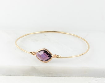Amethyst Gold Bangle, February Birsthstone Gold Bracelet, Amethyst Bangle Bracelet, Amethyst Gold Bracelet, Bridesmaid Jewelry