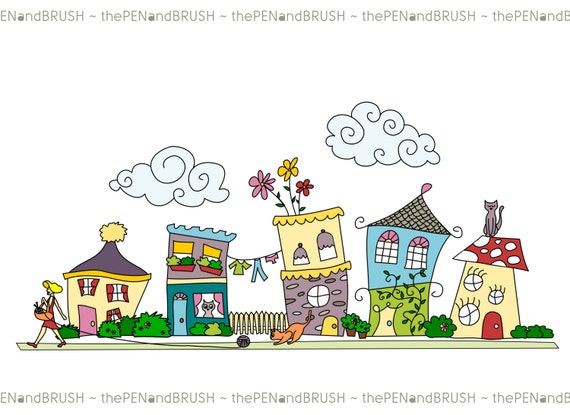 clip art cute houses row of five unique hand drawn houses rh etsystudio com House Made From Cards Open House Sign