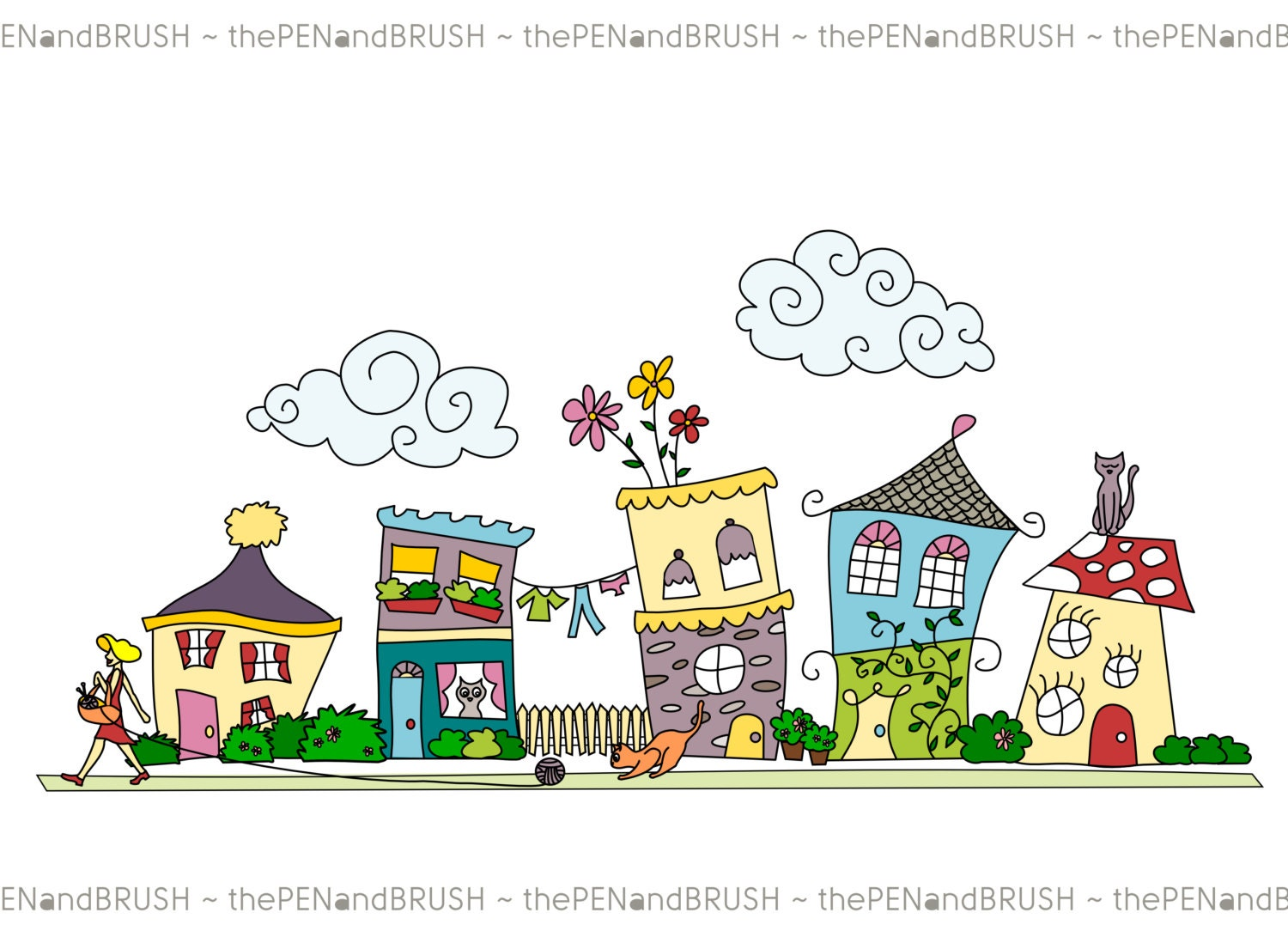 clip art cute houses row of five unique hand drawn houses rh etsy com Paintings of Row Houses Open House