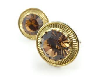 Vintage, Brown Rhinestone, Cuff Links, Glass, Round, Gold Tone, STJ7