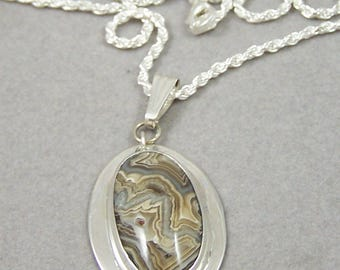 Mexican Lace Agate Sterling Silver Pendant Hand Made