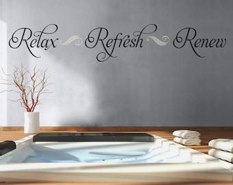 Bathroom Wall Decal Relax Refresh Renew Bathroom Decor Vinyl Lettering Bathroom Decal Spa Wall Decal Bathroom Wall Quote Bathroom Sign
