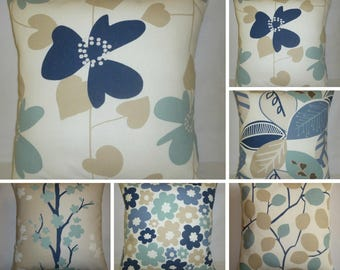 """5 x Pillows Set 16"""" Blue Navy Beige Taupe Designer Cushion Covers Throw Accent Scatter Pillows (40cm)"""