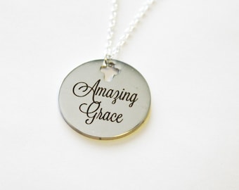 Amazing grace necklace, inspirational necklace, religious necklace or gift, encouragement, sympathy, gift