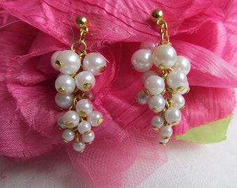 Earrings - Faux Pearls - Dangle Earrings - Pierced Ears - June Birthday - Vintage
