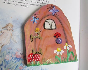 Fairy Door, Hand painted on Wood, whimsical & fantasy, hand painted enchanted door,