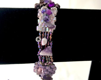 Purple Pink and Silver Mixed Bead Soup Peyote weave Bracelet, button toggle closure