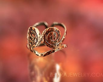 Spiral Hammered Copper Wire Ring Twin Spirals Thumb Ring Copper Jewelry Tribal Boho Rustic Adjustable Ring Sacred Geometry Size 11.5 - 13.5
