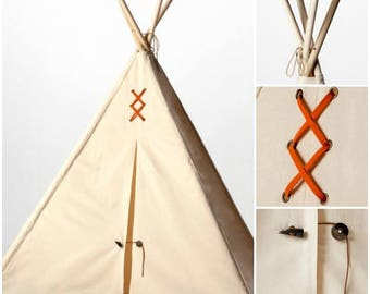 Canvas Kids' Teepee Play Tent - Orange Suede & Natural Horn Details,  Tipi, Play Tent, Kids Teepee, Childrens Teepee, Playhouse