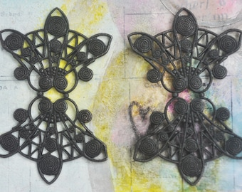 TWO Filigree Earring Bases, Black Satin Finish, Brass  Filigrees, Brass Stampings, Jewelry Making, Jewelry Supplies Made in the USA