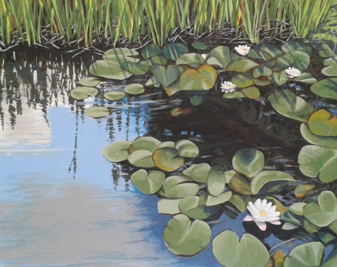 Featured listing image: White Lilies, acrylic painting on canvas