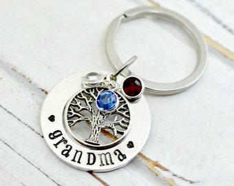 Gifts for Grandma, Personalized Birthstone Keychain, Grandma Birthstone Key Chain, Grandmother Gift, Custom Key Chain, Family Tree Keychain