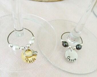 Wedding glass Charms, Bride, Groom glass Charms, Wedding Top Wineglass Charms