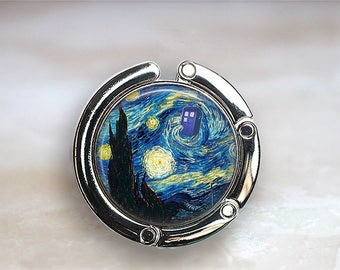 Dr Who purse hook, Tardis purse hook Van Gogh Starry Night Tardis bag hook Whovian gift Van Gogh and the Doctor purse hanger