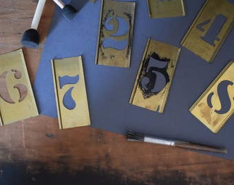 Vintage Brass Stencils - Brass Number Stencils - Brass Stencils - Vintage Craft Supply - Vintage Home Decor