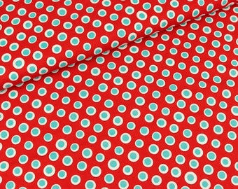 Cotton fabric circles Turquoise-white on red (9.00 EUR/meter)