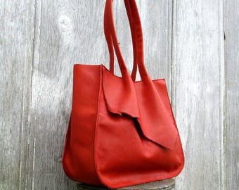Handmade Red Leather Tote Bag by Stacy Leigh