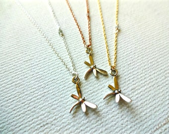Conflict Free Rough Diamond & Dragonfly 925 Sterling Silver Charm Necklace; Symbol of Self Discovery; Good Luck Charm;  Floating Diamond