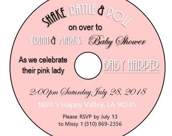 Custom CD Label Wedding Invitation Table Theme 50s 60s 70s Decoration Retro Disco Vintage Rock Birthday Baby Shower Save the Date Sticker
