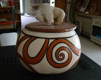 Sculpted White Buffalo on Painted Gourd