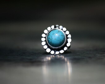 Turquoise Ring, Statement Trendy Boho Fashion Jewelry, Antique Silver Adjustable Ring, Tibetan Silver Ring, Turquoise Jewelry, Stacking Ring