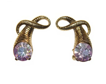 Schiaparelli Earrings, Large Aurora Borealis Rhinestones, Clip, Collectible, Signed, 1950s