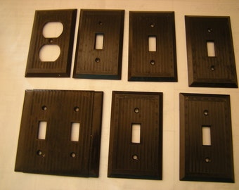 7 art deco switch covers-plug cover-bakelite-ribbed cover-hardware-renovation-salvage-1 uniline-