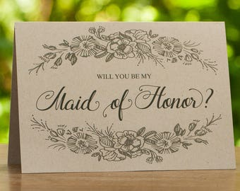 Will You Be My Maid of Honor Card - Bridesmaid Proposal - Wedding Card - Kraft Wedding Cards - Rustic Wedding - Maid of Honor Gift