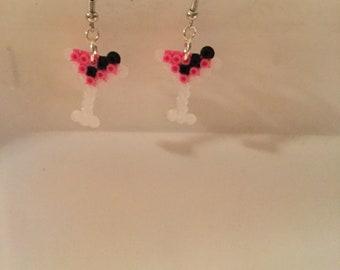Pink martini glass earrings