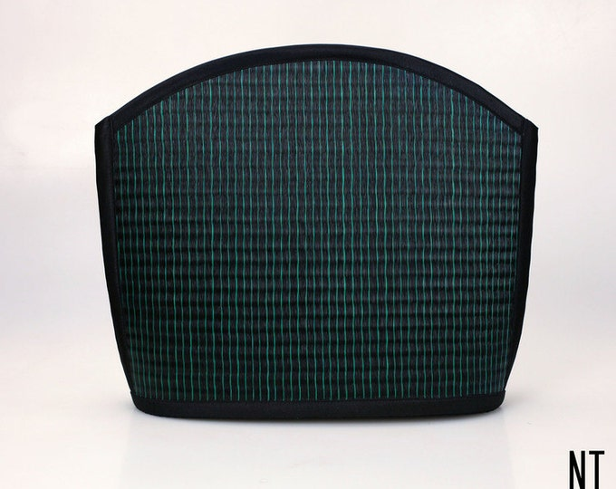 Handmade peacock teal shoulder bag purse woven grass not bamboo large clam shape  over the shoulder NT