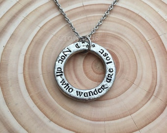"""Hand Stamped pewter Necklace, """"not all who wander are lost"""", celtic style,moon and stars, Latin quote, personalised"""