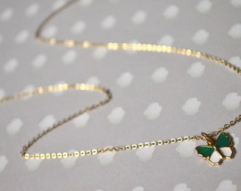 Gold pendant necklace green butterfly