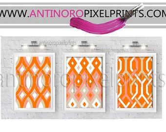 Geometric Damask Orange Beige White Picture Collection  -Set of (3) - Wall Art Prints - (UNFRAMED) Custom Colors, Sizes Available