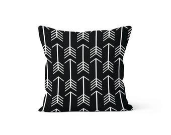 Black Arrows Pillow Cover - 22, 24, 26 and More Sizes - Zipper Closure- ec246